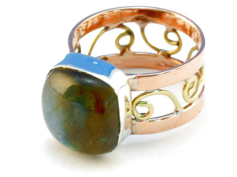 Design 110668 labradorite .925 Sterling Silver Ring Size 9