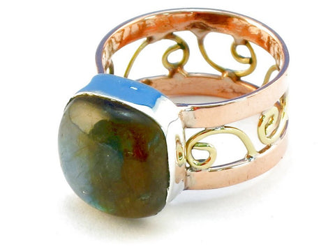 Design 110669 labradorite .925 Sterling Silver Ring Size 9