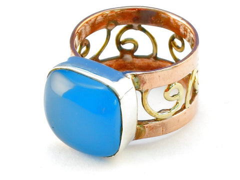 Design 110673 blue chalcedony .925 Sterling Silver Ring Size 8
