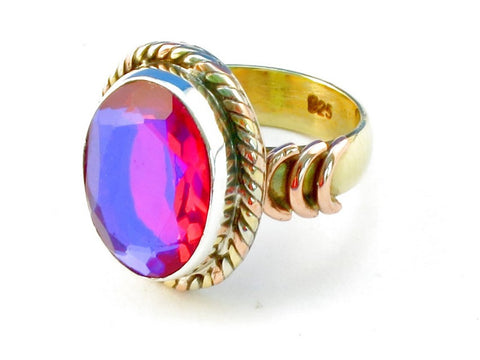 Design 110554 pink rainbow mysterious .925 Sterling Silver Ring Size 6