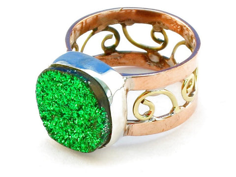 Design 110679 green druzy .925 Sterling Silver Ring Size 8