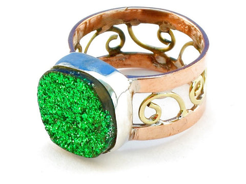 Design 110682 green druzy .925 Sterling Silver Ring Size 10