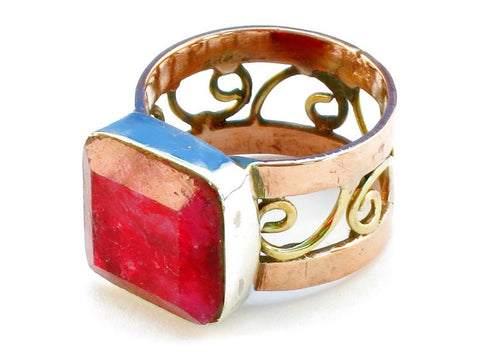 Design 110694 ruby .925 Sterling Silver Ring Size 7
