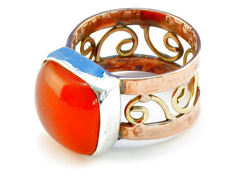 Design 110708 carnelian .925 Sterling Silver Ring Size 7