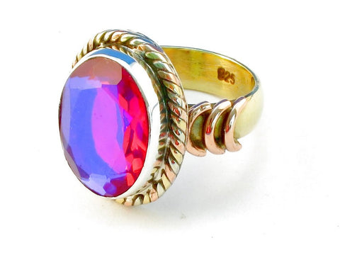 Design 110558 pink rainbow mysterious .925 Sterling Silver Ring Size 10
