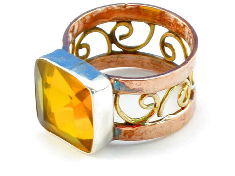 Design 110716 golden topaz .925 Sterling Silver Ring Size 7