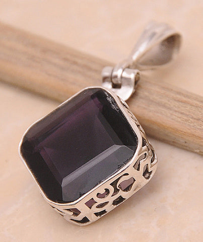 Amethyst .925 Sterling Silver Jewelry Pendant 1.4""