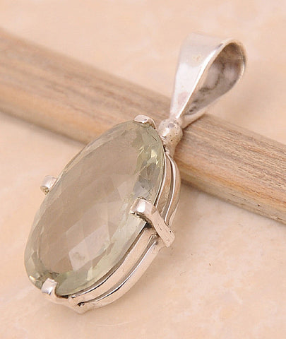 Green Amethyst .925 Sterling Silver Jewelry Pendant 1.2""