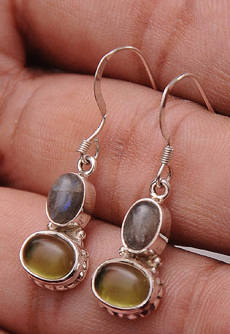 Peridot & Labradorite .925 Sterling Silver Jewelry Earrings 1.2""