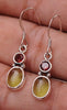 Peridot & Garnet .925 Sterling Silver Jewelry Earrings 1.2""
