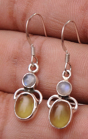 Peridot & Rainbow Moonstone .925 Sterling Silver Jewelry Earrings 1.2""