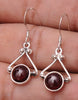 Garnet .925 Sterling Silver Jewelry Earrings 1.2""