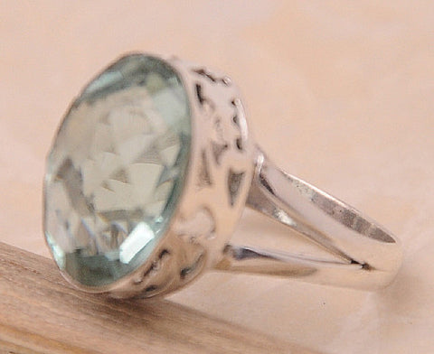 Green Amethyst .925 Sterling Silver Jewelry Ring Size 9