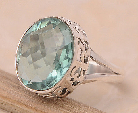 Green Quartz .925 Sterling Silver Jewelry Ring Size 9