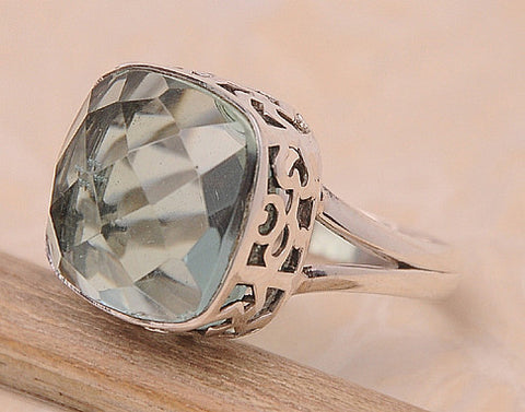 Green Amethyst .925 Sterling Silver Jewelry Ring Size 10