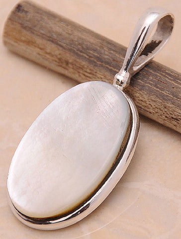 Mother of Pearl MOP .925 Sterling Silver Jewelry Pendant 1.50''