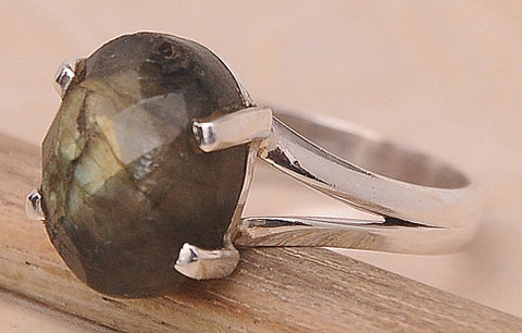 Labradorite .925 Sterling Silver Jewelry Ring Size 8