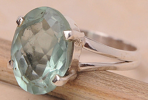 Green Quartz .925 Sterling Silver Jewelry Ring Size 10