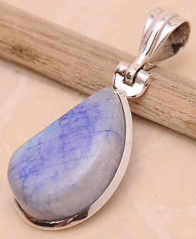 Purple Rainbow Moonstone .925 Sterling Silver Jewelry Pendant 1.6""