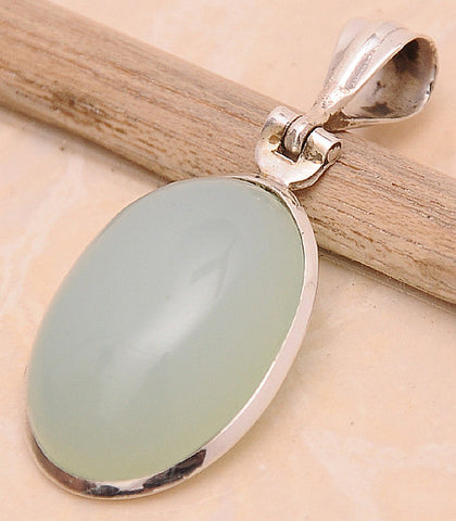 Chalcedony .925 Sterling Silver Jewelry Pendant 1.6""