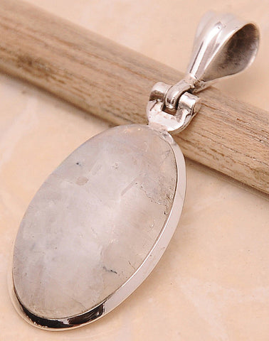 Rainbow Moonstone .925 Sterling Silver Jewelry Pendant 1.6""