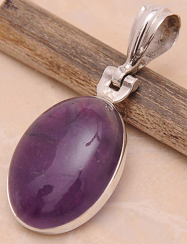 Amethyst .925 Sterling Silver Jewelry Pendant 1.50''