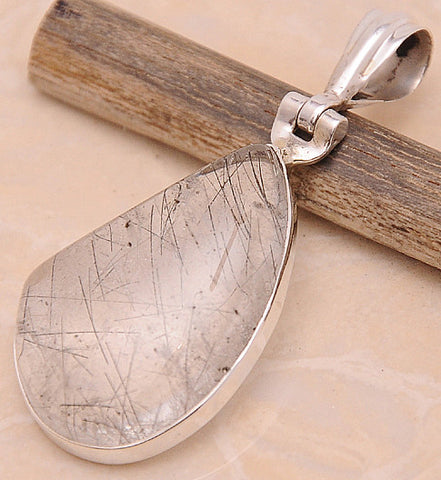 Black Rutilated Quartz .925 Sterling Silver Jewelry Pendant 1.50''