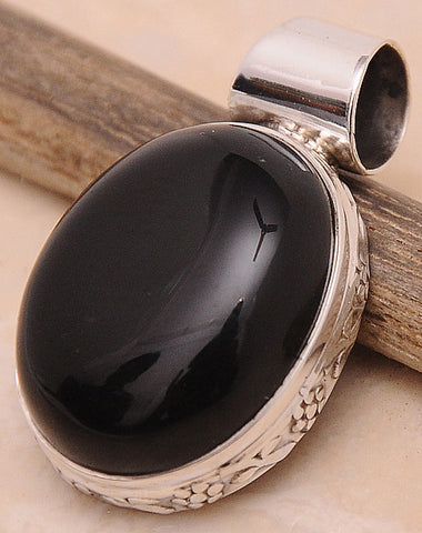 Black Onyx .925 Sterling Silver Jewelry Pendant 1.30''