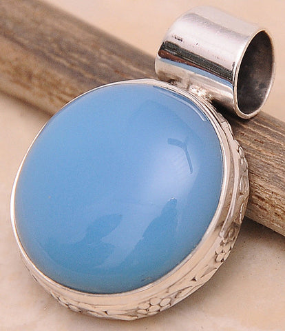 Chalcedony .925 Sterling Silver Jewelry Pendant 1.30''