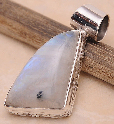 Rainbow Moonstone .925 Sterling Silver Jewelry Pendant 1.30''