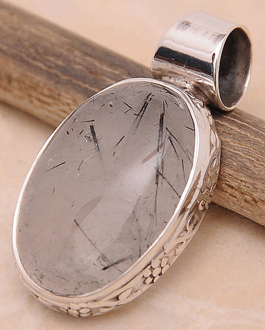 Black Rutilated Quartz .925 Sterling Silver Jewelry Pendant 1.30''