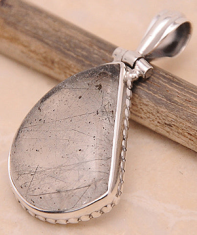 Black Rutilated Quartz .925 Sterling Silver Jewelry Pendant 1.40""