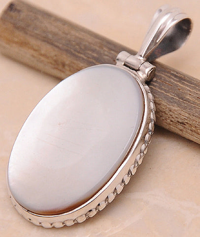 Mother of Pearl MOP .925 Sterling Silver Jewelry Pendant 1.40""