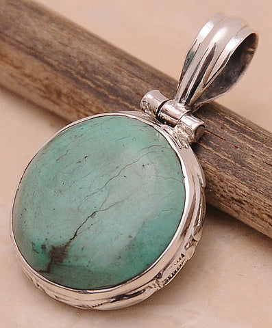 Turquoise .925 Sterling Silver Jewelry Pendant 1.50''