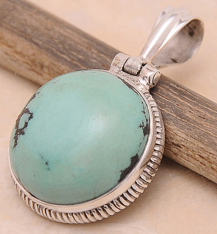 Turquoise .925 Sterling Silver Jewelry Pendant 1.40""
