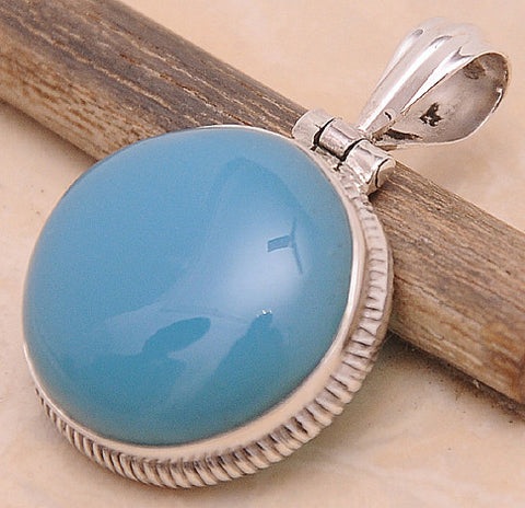Chalcedony .925 Sterling Silver Jewelry Pendant 1.40""