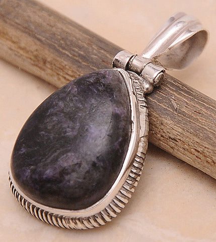 Charoite .925 Sterling Silver Jewelry Pendant 1.40""