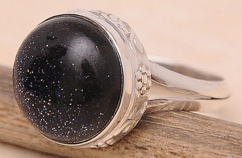 Blue Sunstone .925 Sterling Silver Jewelry Ring Size 9