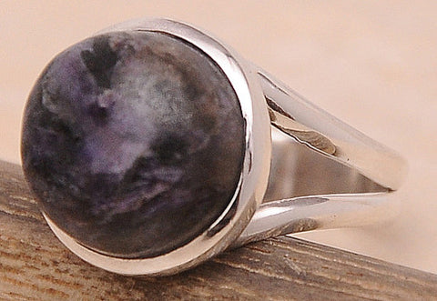 Charoite .925 Sterling Silver Jewelry Ring Size 7