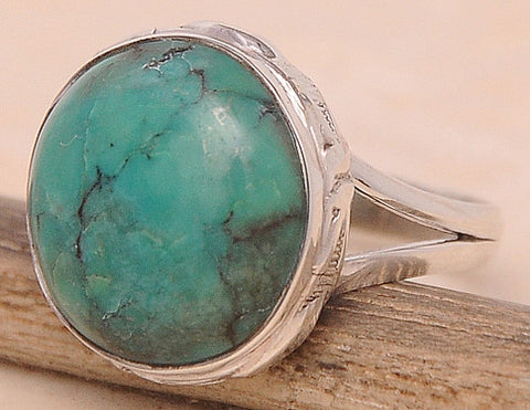 Turquoise .925 Sterling Silver Jewelry Ring Size 8