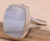 Blue Lace Agate .925 Sterling Silver Jewelry Ring Size 9