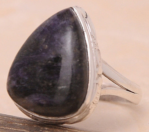 Charoite .925 Sterling Silver Jewelry Ring Size 10