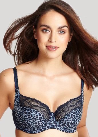 Model in Panache Jasmine Full Cup BH Animal Navy