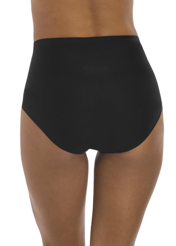 Model i Fantasie Smoothease High Waisted Broekje Zwart Achter