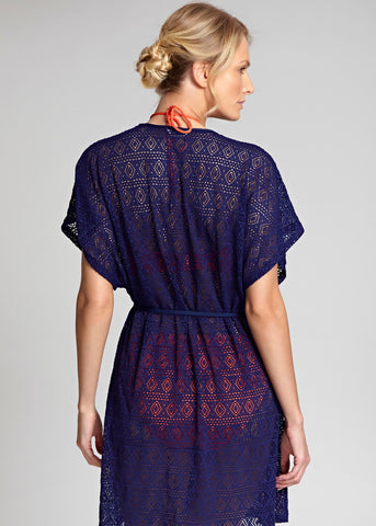 Model in Panache Crochet Wrap Sundress Navy voorzijde