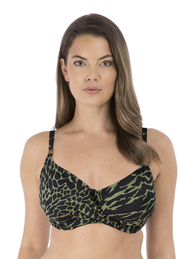 Model in Fantasie Boa Vista Full Cup Bikini Top Peridot