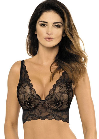 Model in Gorteks Charlize Push-up Longline BH Zwart Vooraanzicht