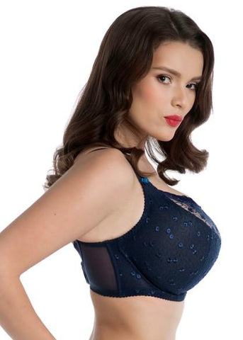 Model in Nessa Naomi Balconette BH Navy