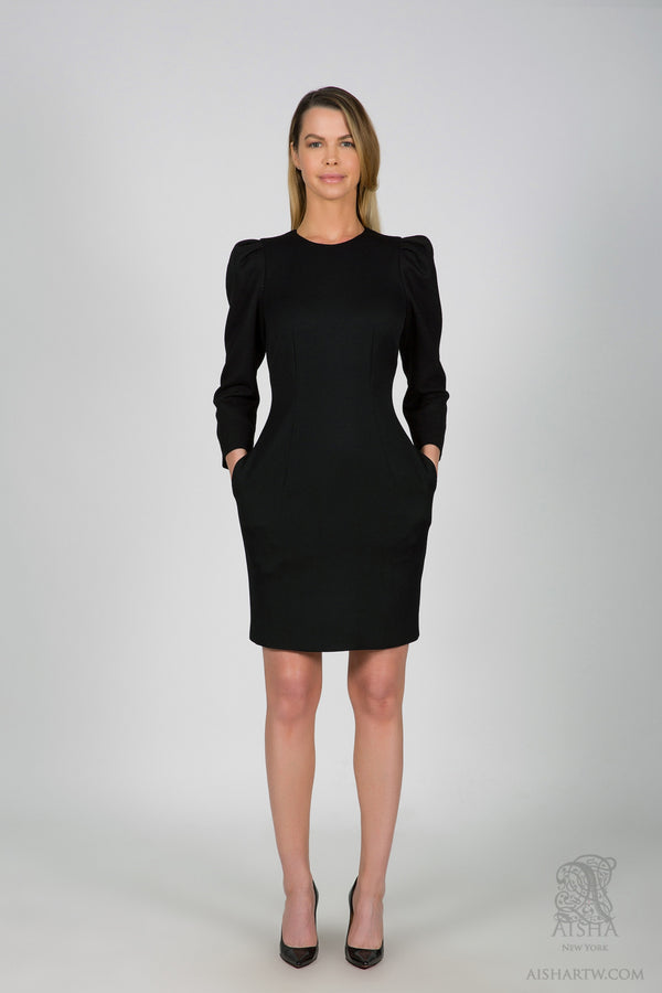 Wool solid dress