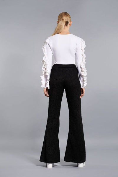 BLACK TEXTURED WIDE LEG PANTS